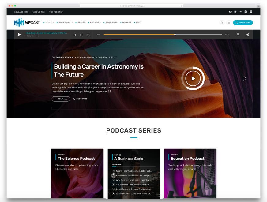 15 Theme Podcasting WordPress có nhiều chức năng nhất 2019